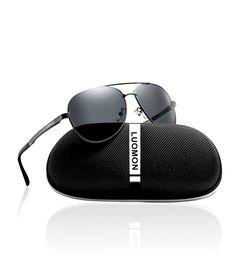 057f601586ee LUOMON Men s Polarized Aviator Sunglasses Metal Grey Frame Grey Lens for  Fishing  fashion