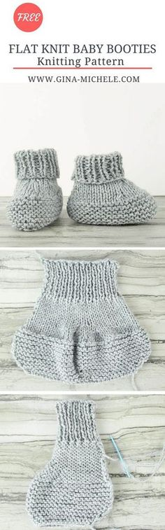 FREE #knitting pattern for these Flat Knit Baby Booties!
