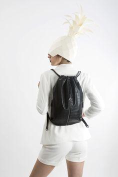 FruitenVeg-MISHI bag-never-leather-eco-croc-embossed-faux-leather-black-medium-luxury-backpack-nyc