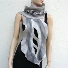 Nuno Felted Scarf merino wool silk Hand made Nuno by FeltDress, $70