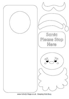 color me print me Santa craft door hanger or card???