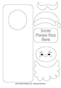 color me print me Santa craft door hanger Find more #christmas ideas at https://www.facebook.com/WestTremontHolidayMarket