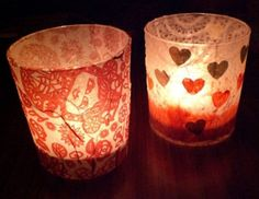 DIY Crepe Paper/Tissue-Covered Votive/Candle Holders