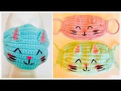 How to Crochet a Quick & Easy Face Mask Crochet Eyes, Crochet Mask, Diy Crochet, Crochet Crafts, Crochet Projects, Easy Face Masks, Diy Face Mask, Crochet Stitches Patterns, Knitting Patterns