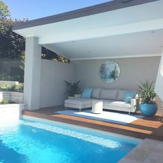 Might be a good idea to spend sunday here going to be a hot one outdoor exteriors pool swimmingpool backyard backgarden home homelove weekend wheresautumn Pool Cabana, Pool Houses, Pool House, Patio Design