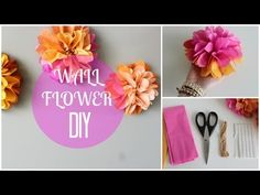 Make your own paper wall flowers to brighten up your room for spring! This is a really easy and inexpensive decor DIY! Share your creations with me on TWIT. Flower Crafts, Diy Flowers, Paper Flowers, Flower Wall, Wall Flowers, Diy Papier, Paper Crafts, Diy Crafts, Simple Life Hacks