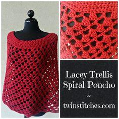 Tw-In Stitches: Lacey Trellis Poncho - Spiral Version - Free Pattern | Tw-In Stitches
