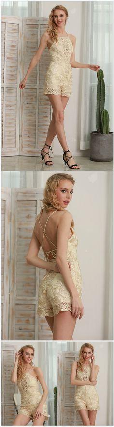 Romper Strap Floral Gold Elegant Romper @sassyshopwise https://sassyshopwise.com/products/romper-strap-floral-gold-elegant-jumpsuit