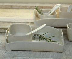 Little porcelain tray with fun serving dishes and spoons for salt or pepper or m. - Little porcelain tray with fun serving dishes and spoons for salt or pepper or m… , - Ceramic Tableware, Ceramic Clay, Porcelain Ceramics, Ceramic Bowls, Slab Ceramics, Hand Built Pottery, Slab Pottery, Ceramic Pottery, Café Chocolate
