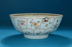 *FOR SALE* Click to read about the history and see more detailed images* CHINESE EXPORT PORCELAIN GILT PETALED & FAMILLE ROSE PUNCH BOWL, Qianlong, China,  c1765-70