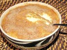"""Sago """"Melkkos"""" pudding (& regte boere resep ) and it's basically milk with some flour, butter, salt, eggs, cinnamon and sugar and its cheap to make. This recipe has sago added. Tart Recipes, My Recipes, Baking Recipes, Dessert Recipes, Hot Desserts, Awesome Desserts, Filipino Desserts, Cheap Recipes, Favorite Recipes"""