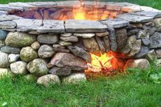 stone fire pit with
