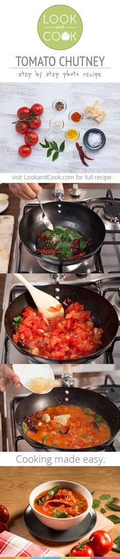 Tomato chutney( This Tomato Chutney recipe made from tomatoes and Indian spices complements every most Indian dishes. It tastes tangy and delicious Vegetable Recipes, Vegetarian Recipes, Cooking Recipes, Healthy Recipes, Chutneys, Indian Food Recipes, Asian Recipes, Salsa Guacamole, Look And Cook
