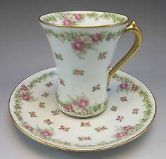 Antique GDA Limoges France Tea Cup Saucer Set Pink Roses Porcelain China Gold