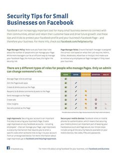 Facebook Offers Security Tips For Small Business Pages - Like any big online network, Facebook is a target for all sorts of hackers, scammers and others of that ilk. | via #BornToBeSocial - Pinterest Marketing