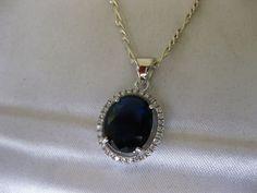4CT Blue Sapphire & White Topaz Genuine 925 Solid Sterling Silver Pendant/Chain