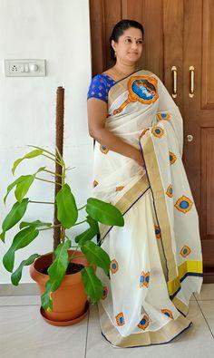 Design your dreams. Saree Painting Designs, Fabric Paint Designs, Kerala Saree Blouse, Indian Sarees, Silk Sarees, Look Fashion, Indian Fashion, Saree Embroidery Design, Hand Painted Sarees