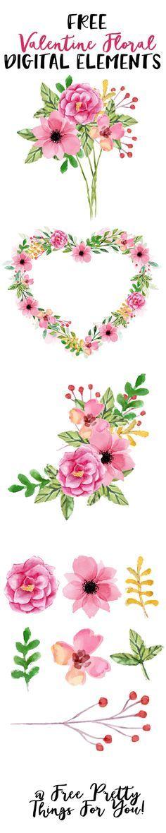 Free Valentine Floral Digital Elements-CU ok!