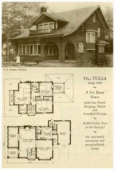1927 Brick Houses: The Tulsa I'll put my sliding glass wall onto the second story screened in sleeping porch. Craftsman Style Homes, Bungalow Homes, Craftsman Bungalows, Tyni House, Sims House, Cottage House, Old Houses, Brick Houses, Vintage House Plans