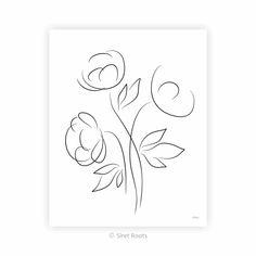 Black and white floral line art print. Three peonies sketch. Minimalist flowers drawing. Elegant Flowers, My Flower, Line Art, Peonies, Minimalist, Sketches, Art Prints, Black And White, Wall Art