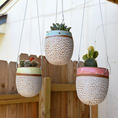 3 Hanging Crackle Egg Planters Save 10% by RhynoClayworks on Etsy