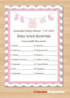 Printable Baby Shower Game WORD SCRAMBLE Custom Game