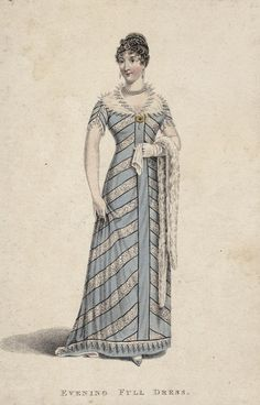 Evening full dress, 1811 England, La Belle Assemblée. Fascinating, appears to be one piece, no separate bodice. Looks quite like Edwardian period princess line gowns