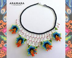 Bead Jewellery, Beaded Jewelry, Beaded Necklace, Necklaces, African Beads Necklace, Mexican Jewelry, Hair Beads, Flower Necklace, Bead Art