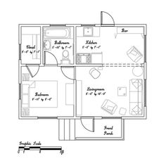 Beths 365 Sq. Ft. Cozy Small Cottage in California - nice floor plan. I like the idea of a large closet in a small house.