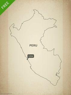 Free map of Peru - blank outline map - Adobe Illustrator AI, EPS, PDF and JPG.