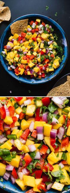 SALSA DE MANGOS IDEAL PARA TACOS Y COMIDAS Frutas y Verduras 1/4 taza de cilantro, hojas frescas envasadas 1 jalapeño 1 lima, gran 3 mangos, maduro 1 pimiento rojo, media 1/2 taza de cebolla roja 1/8 cucharadita de sal