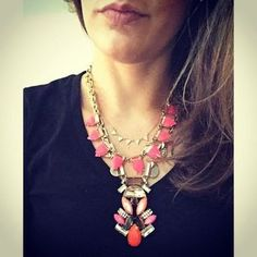 Pink, Orange & Gold Necklace | Pop Geo Pendant Necklace | Stella & Dot http://www.stelladot.com/sites/amycarlson/?lc=en_us