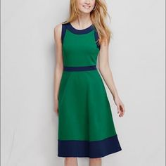 Lands End green/navy ponte dress, size 6 Lands End green/navy ponte dress, size 6, new without tags, never worn (except for photo, haha!) has side hidden zipper and pockets! Lands' End Dresses Midi