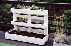 Od inspiracji do realizacji Vertical Garden Planters, Vertical Pallet Garden, Wood Pallet Planters, Herb Planters, Pallets Garden, Potager Palettes, Herb Garden Design, Back Gardens, Garden Beds
