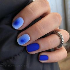Blue nail art, Fashion nails 2018, Fashionable gradient nails, Ideas of gradient nails, Nails trends 2018, Original nails, Short nails 2017, Spring nail art