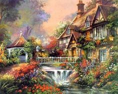 Kinkade Enchanted WaterFaLL Cross Stitch Pattern LOOK