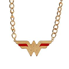 Bioworld DC Comics Wonder Woman Logo Necklace: This licensed statement necklace features the famous Wonder Woman logo. Wonder Woman Logo, Red Necklace, Gold Logo, Red Gold, Dc Comics, Diamond, Logos, Stuff To Buy, Jewelry