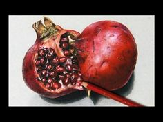 Drawing a Pomegranate, hyperrealistic art - YouTube