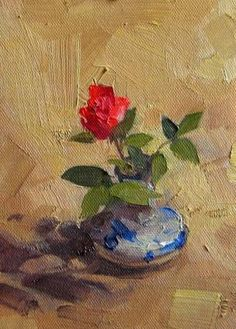 Beijing Rose, painting by artist Qiang Huang