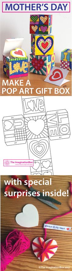 This easy to use Pop Art Hearts Doodle Gift Box PDF download pack is an ideal creative art project for Mother's Day or Valentine's Day. Equally it can be used at any time of the year as a general art activity exploring Pop Art, color and shape.  Students get to take home a beautiful finished keepsake gift box with some special surprise messages inside!