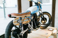 Skateboard Rack on a Honda Cl360 Motorcycle. Transport your Skateboard Anywhere. Build by Kick Start Garage | World's Greatest Co | Iron and Resin