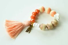 Peach and Coral Golden Fawn Charm Bracelet.  Add initial