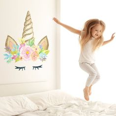 Featuring a unicorn head with eyelashes in a watercolour style, this unicorn wall sticker design will brighten up any girl's bedroom. This unicorn wall sticker design is part of our unicorn collection of wall stickers. Unicorn Themed Room, Unicorn Bedroom Decor, Unicorn Rooms, Unicorn Head, Rainbow Unicorn, Unicorn Decor, Wall Stickers Unicorn, Unicorn Wall Art, Kids Wall Stickers