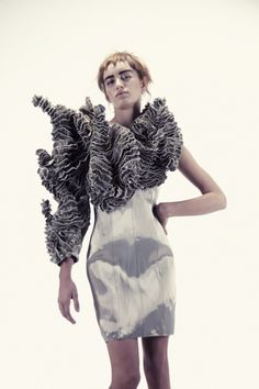 Organic Textures - intricate sculptural fashion; metallic silver dress with 3D construct and structured surface pattern // Iris Van Herpen