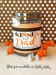 Fathers Day Gift Idea: Kisses for Dad Hershey Kisses- Premade Gift Fathers Day Presents, Fathers Day Crafts, Gifts For Coworkers, Gifts For Father, Happy Fathers Day, Kids Gifts, Father Father, Father Daughter, Manualidades