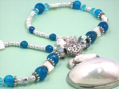 AAA Blue Agate Gemstone Beads & Mother Of Pearl by Chris of  FantasyDesign, $147.00