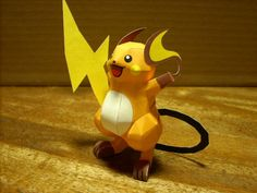 Pokemon - Raichu Eletric Type Pokemon Paper Model - by Tenpepakura - == -  From Pokemon anime, this is Raichu, recreated in paper by Japanese designer Tenpepakura. Raichu is an Electric-type Pokémon. It evolves from Pikachu when exposed to a Thunder Stone. It is the final form of Pikachu. You need only one sheet of paper to build this.
