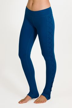 Dark Romance Lace Up Yoga Legging in Blue   Yoga Bottoms   KiraGrace