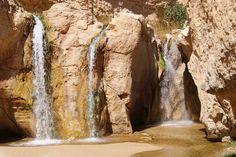 Waterfalls in Tamerza Mountain Oasis, Tunisia.