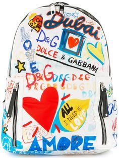 Dolce & Gabbana Dubai graffiti printed backpack - White White Backpack, Backpack Bags, Graffiti Prints, Stefano Gabbana, Cool Backpacks, Designer Backpacks, Kids Bags, Heart Print, Chanel Handbags